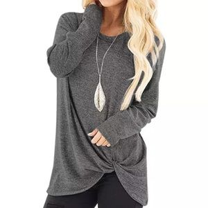 Gray Long Sleeve Twist Bottom Top